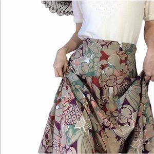Vintage Fruit Skirt Beige Jewel tones